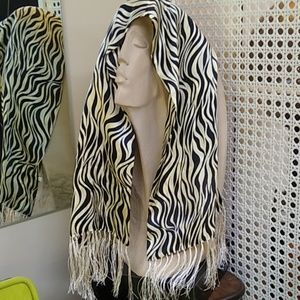 Beautiful black and cream silk scarf with fringe